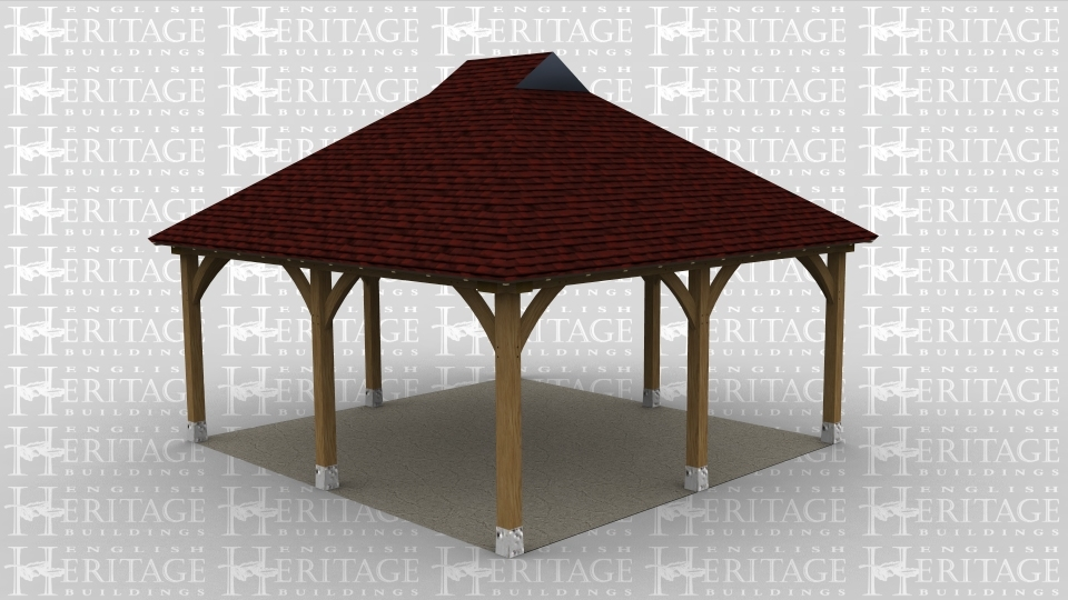 A two bay oak framed gazebo open all sides with gablets on the roof.