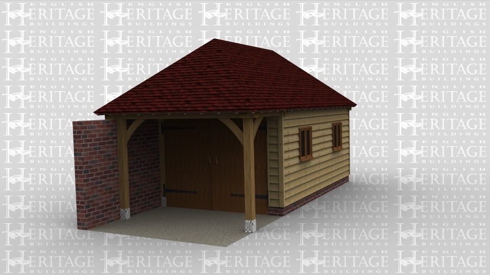 A garage with a shelterd area. Barn doors to enter and single windows to allow sunlight.