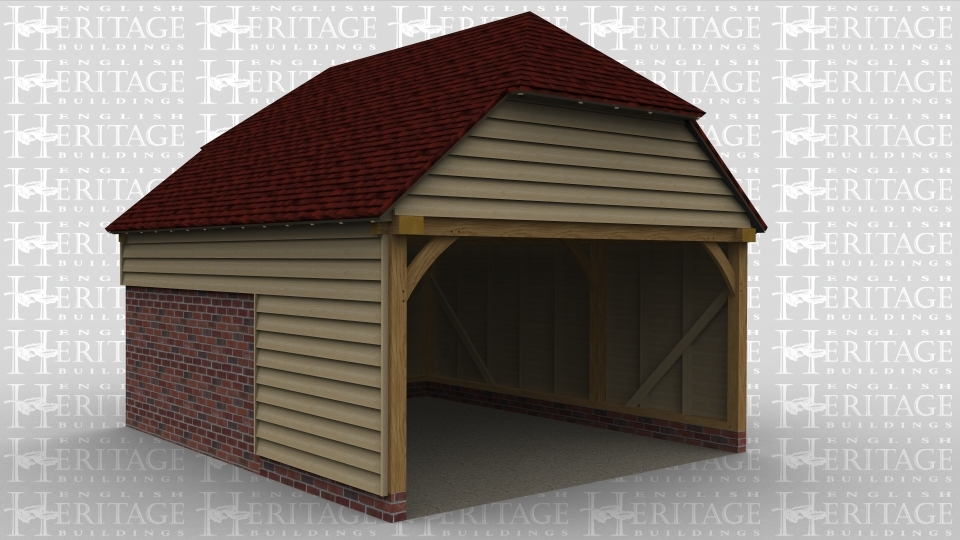 An oak framed open garage with two bays deep.