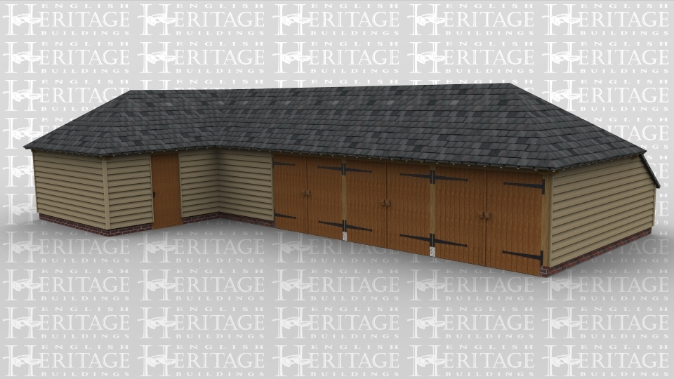 An L shaped oak framed garage with three bays enclosed by a set of barn doors each and an attachted studio space.