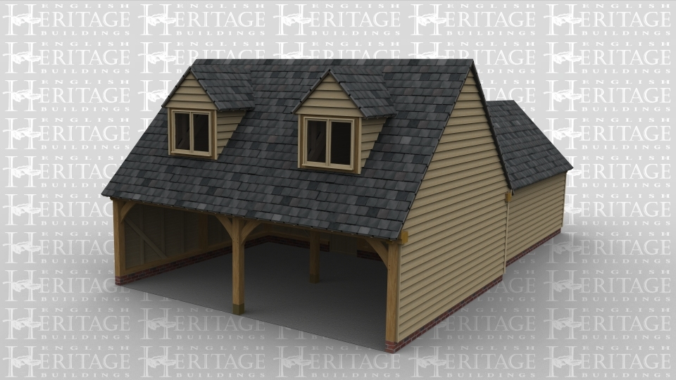 An oak framed garage with two open parking bays which connect to a studio space behind and also upstairs. Upstairs has two dormers with windows.