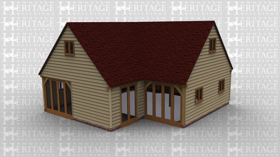An oak framed two storey house. Features include full height glazing, single windows, and a door.
