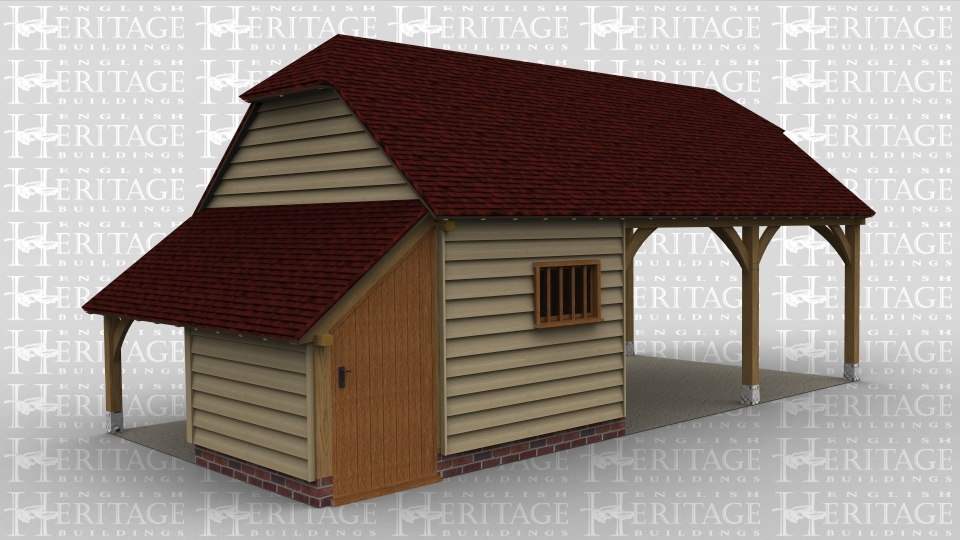 An oak framed building with two open parking bays connected to a storage space with several rooms.