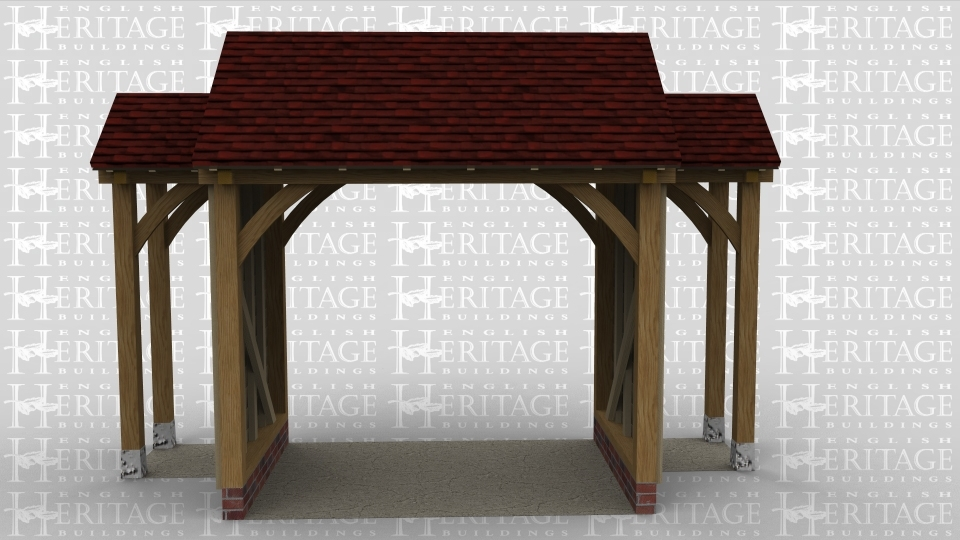 An oak frame porch with a main entry way in the centre and 2 outer walkways either side.