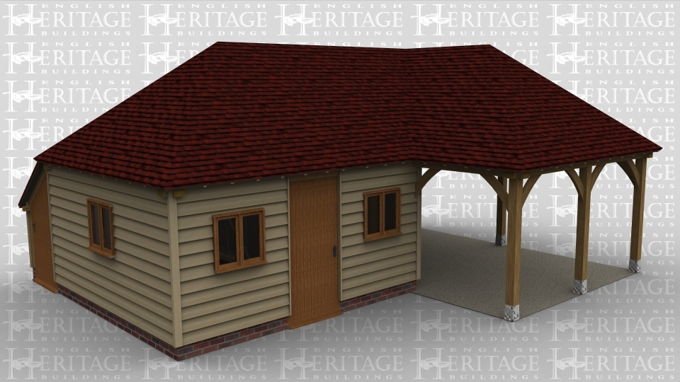 An oak framed car port and workshop / office building with a completely open space as well as a room with 3 doors all on different sides of the building and 2 windows on the front of the building as well as one on the side