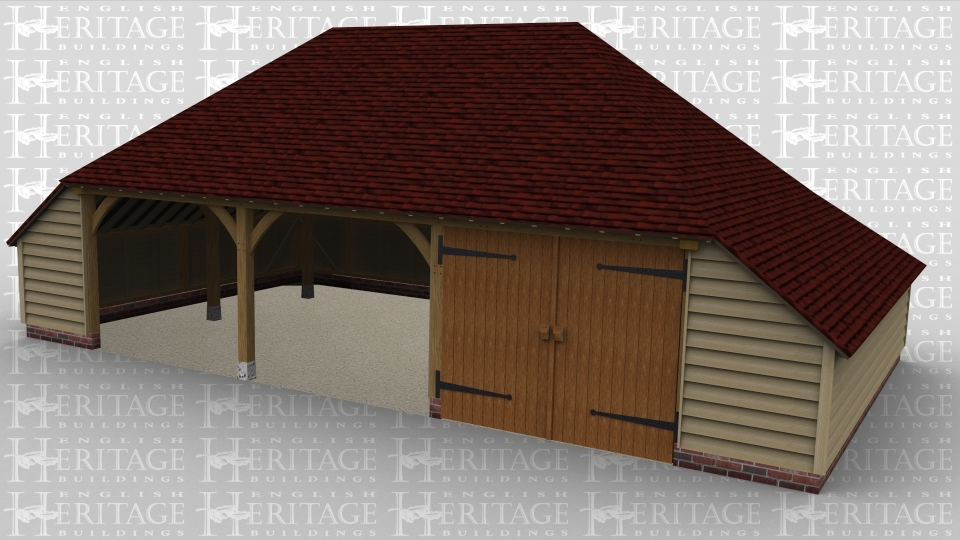 A 3 bay oak frame garage with 2 open plan bays and another enclosed bay with large iroko barn doors on the front