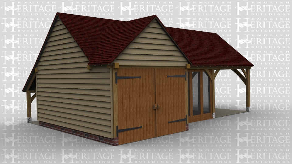An oak frame garage building with an open and secure garage space and a summer / garden room between
