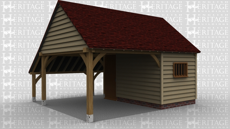 An oak framed open car port with a storage room to one side