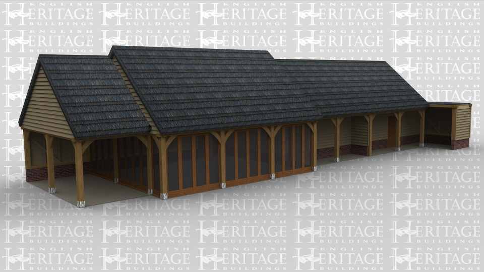 An oak framed complex with a thatched roof, first bay is an open shelterd area then three bays with full height glazing. the last four bays create two large rooms and attached it storage space with a flat roof.