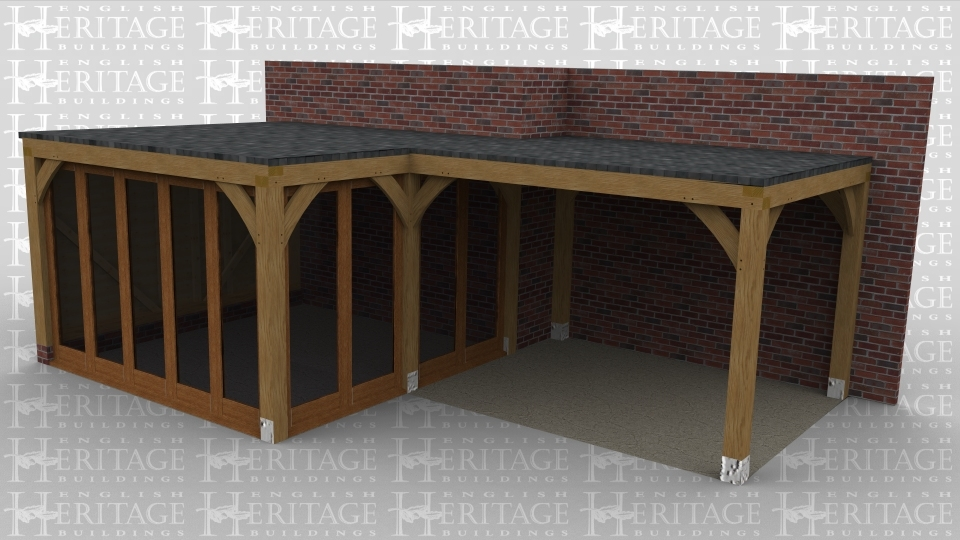 An oak framed building with a flat roof that is 2 bays in size, there is a completely open area with access to an interior area though full height glazed doors. This part of the building has full height glazing on 2 sides to allow for plenty of natural light in the room
