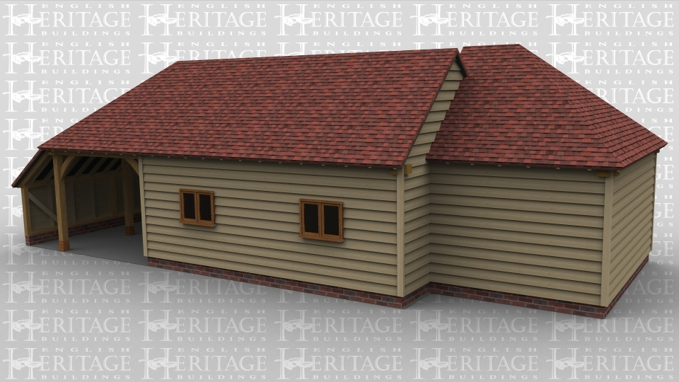 An oak frame garage / office with a door on the rear, it also has an open bay as well as 2 windows on the front of the building