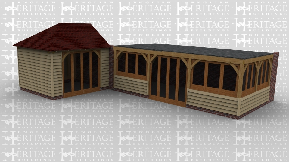 An oak framed leisure building with one room containing full height glazing to allow for plenty of natural light in the room. The building also another room with full height glazing as well as 2 sides covered by smaller windows and a flat roof.