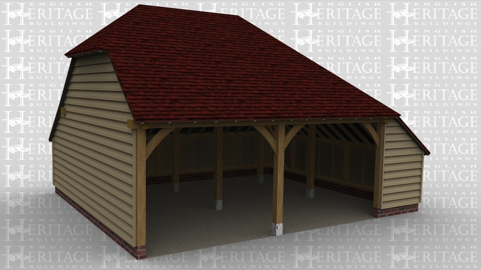 A 2 bay oak framed garage with and aisle to the right.