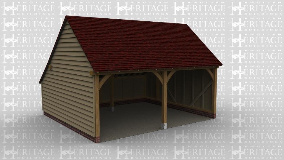 A 2 bay oak frame open ended garage.
