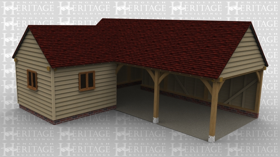 An oak framed garage / workshop with a large area being open but with a small room to the left with 2 windows.