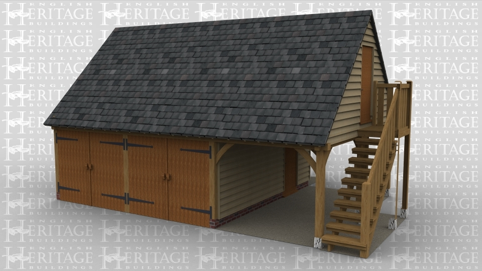 A 9 bay oak frame building with an encloed 2 bay garage with large iroko barn doors. this building also has another room on the ground floor with 2 small windows. There is an external staircase allowing access to the first floor in which there is a dormer window on the rear of the building.