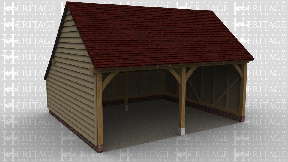 A 2 bay tradtional oak frame garage.