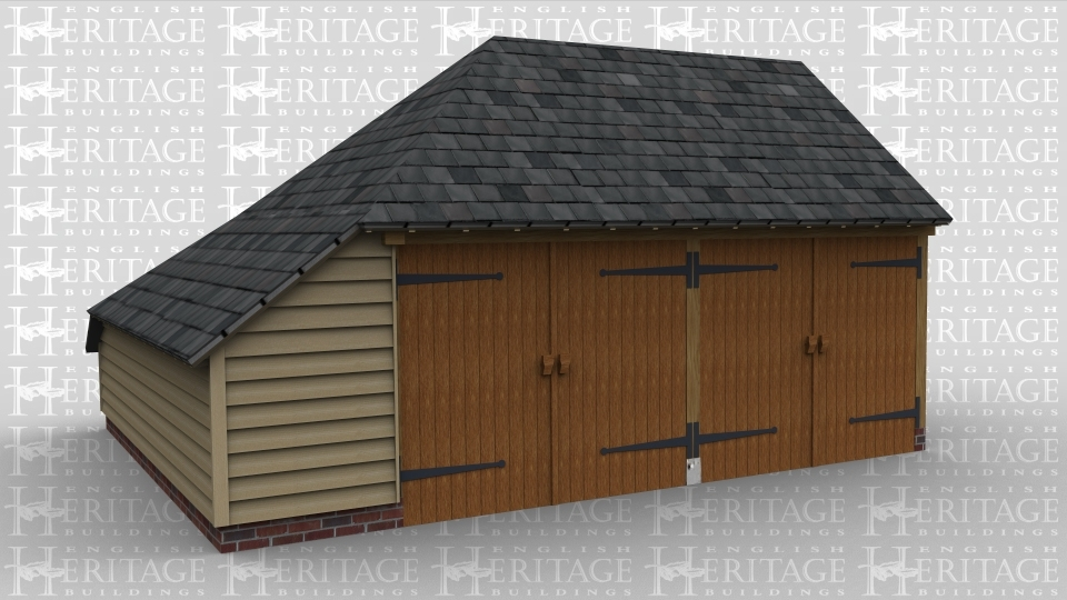 A traditional 2 bay oak framed garage with two sets of garage doors and a aisle to the left.