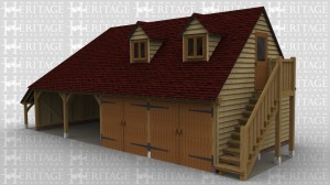 A 4 bay oak frame garage with an external aisle on the left. The front of the frame has 2 bays open and 2 bays each enclosed with a pair of garage doors. On the right wall is a star case leading to the first floor. On the first floor there is a  half glazed door allowing access while at the front there are 2  dormer windows each housing a 2 light window to allow the natural light into the first floor area.