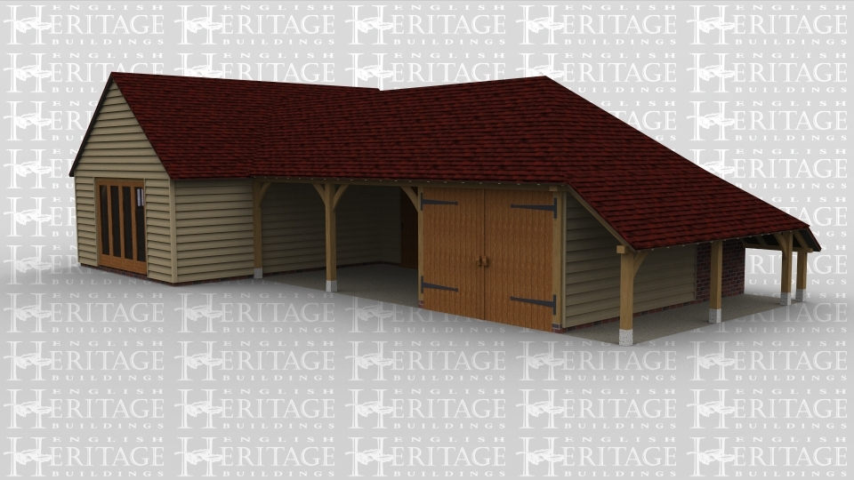 A 3 bay oak frame  garage with 2 open ended bays and an enclosed one with  barn doors, this building also has log store to the right . There is also studio / workshop attached in which there is full height glazing along one wall and 2 smaller windows on another.