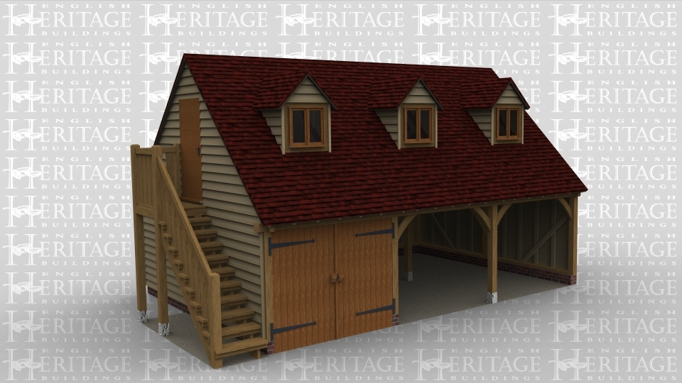 An oak framed garage with 2 open ended bays as well as another bay with barn doors. There is an external staircase leading to the first floor, this area includes 3 dormer windows at the front of the building.