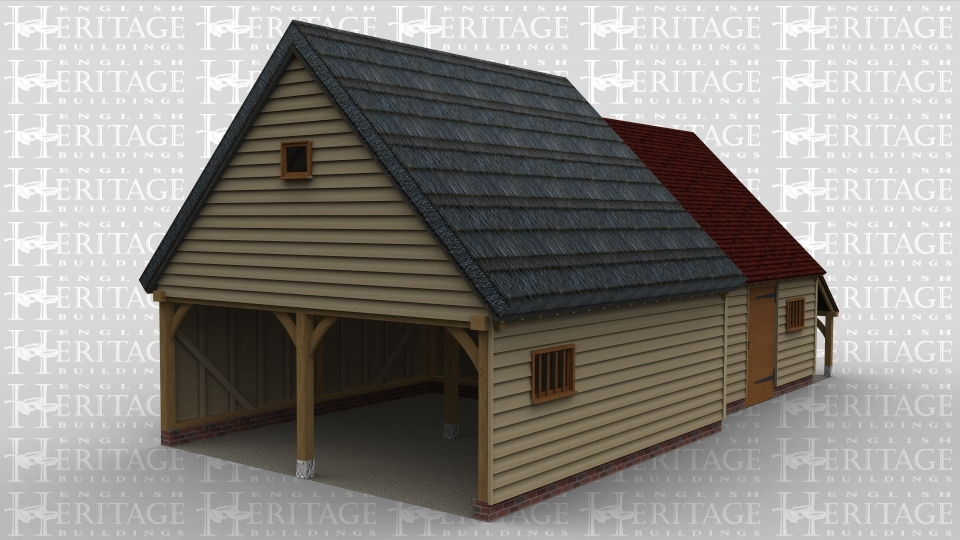 A oak framed building with a 2 bay open garage and workshop. The roof of the garage area is thatched while the rest on the building has a clay tile roof, the front on the building has a normal door at the front next to a small glazed window and a logstore to the right.