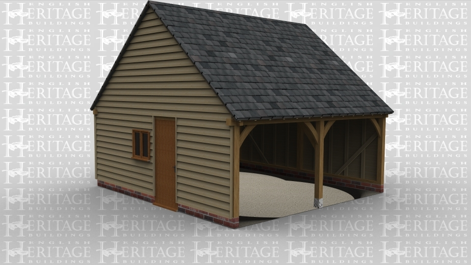 A 2 bay oak frame garage open at the front with a single door and a 2 light window on the  left