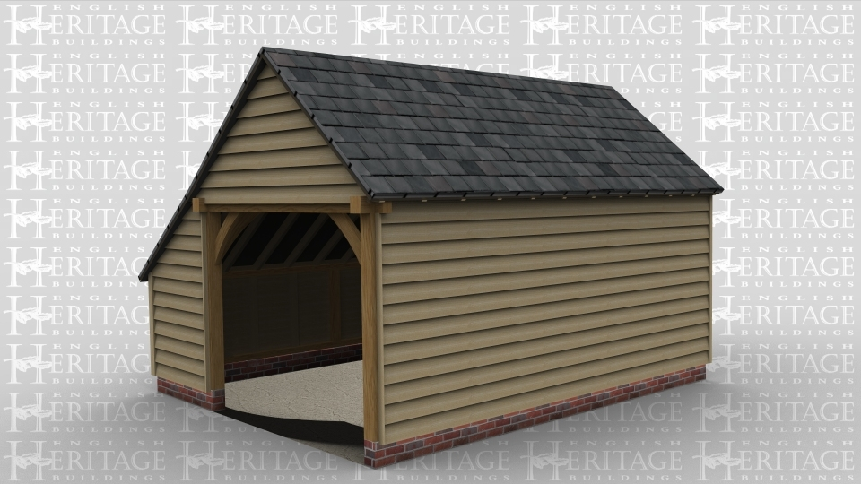 A traditional 2 bay open plan oak frame garage