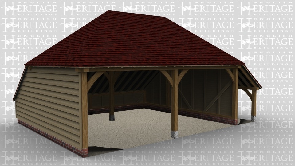 A traditional 2 bay oak frame garage.