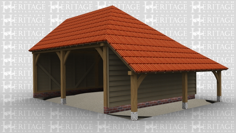 A traditional oak frame garage with 3 bays and a logstore area outside