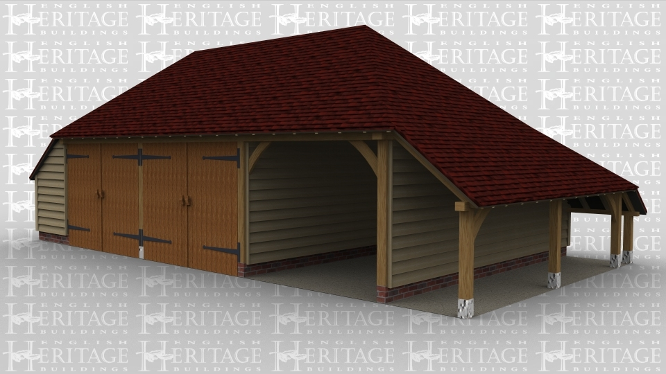A 3 bay oak frame traditional garage with 2 sets of  barn doors and an open bay. This building also has an outside aisle to the right hand side and an internal aisle to the left.