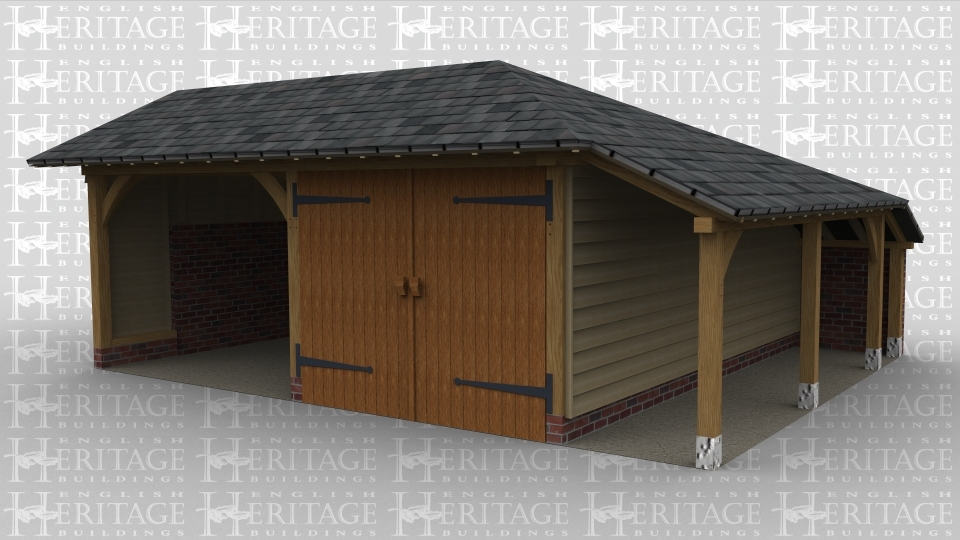 An oak frame garage with 2 bays split into an open area and an enclosed one with barn doors. This building has a low pitched roof and an aisle down the right hand side.