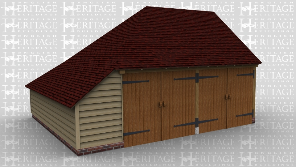 A 2 bay oak frame garage with enclosed aisle on the left side.