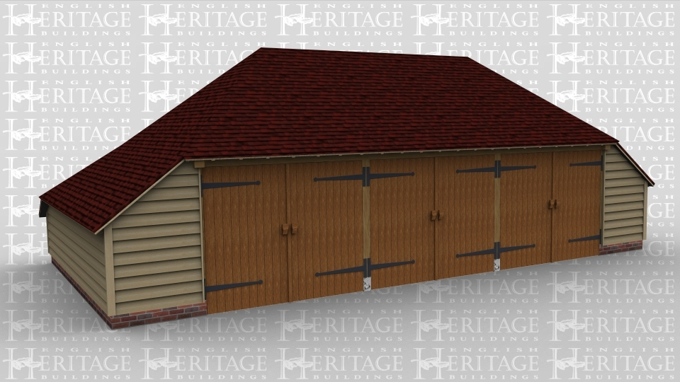 A 3 bay oak frame traditional garage with 3 barn doors, which also has a deep aisle to the rear and enclosed aisles both sides.
