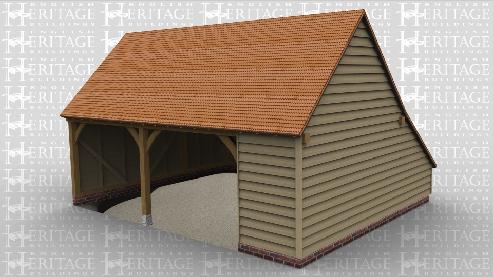 A traditional oak frame garage with 3 bays
