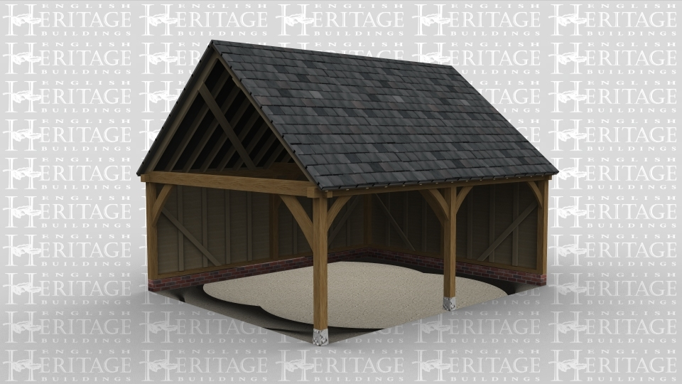 A traditional oak frame garage with a single bay and a slate roof