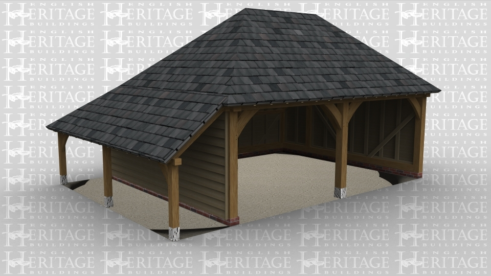 An oak frame 2 bay open ended garage with a slate roof as well as an outside log store