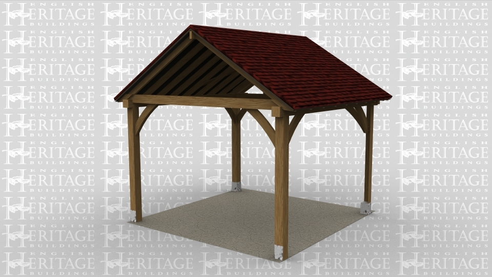 An oak frame open gazebo