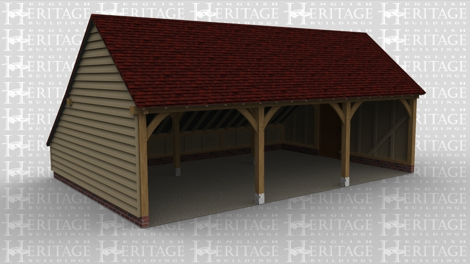 A traditional oak frame garage with 3 open bays and an access door on the side
