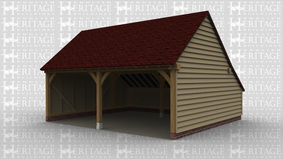 A 2 bay oak frame garage with an enclosed aisle at the rear.