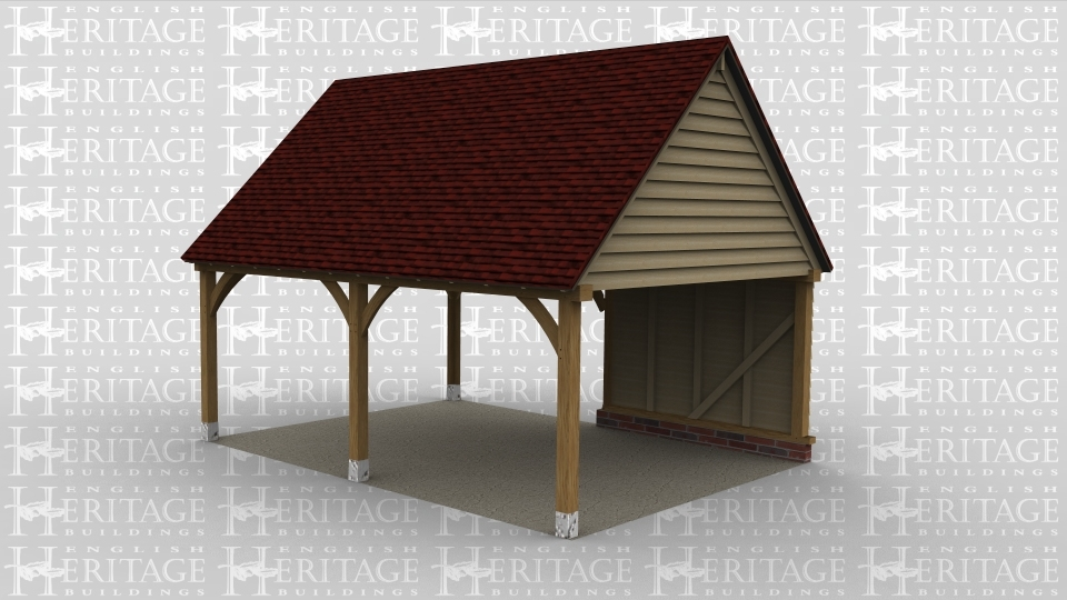 A 2 bay oak frame car port with one boarded wall.