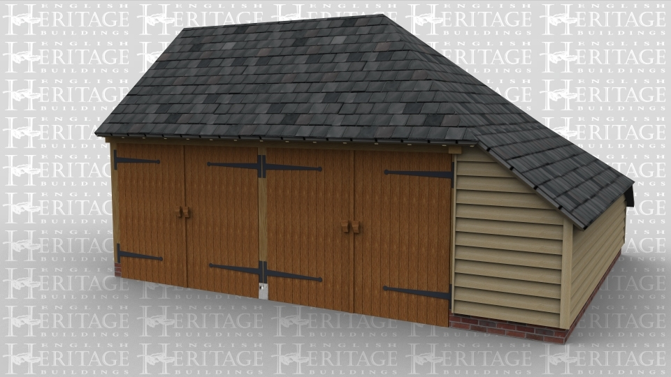 A 2 bay oak frame garage with each bay enclosed by garage doors at the front with an enclosed aisle on both the right and the rear.