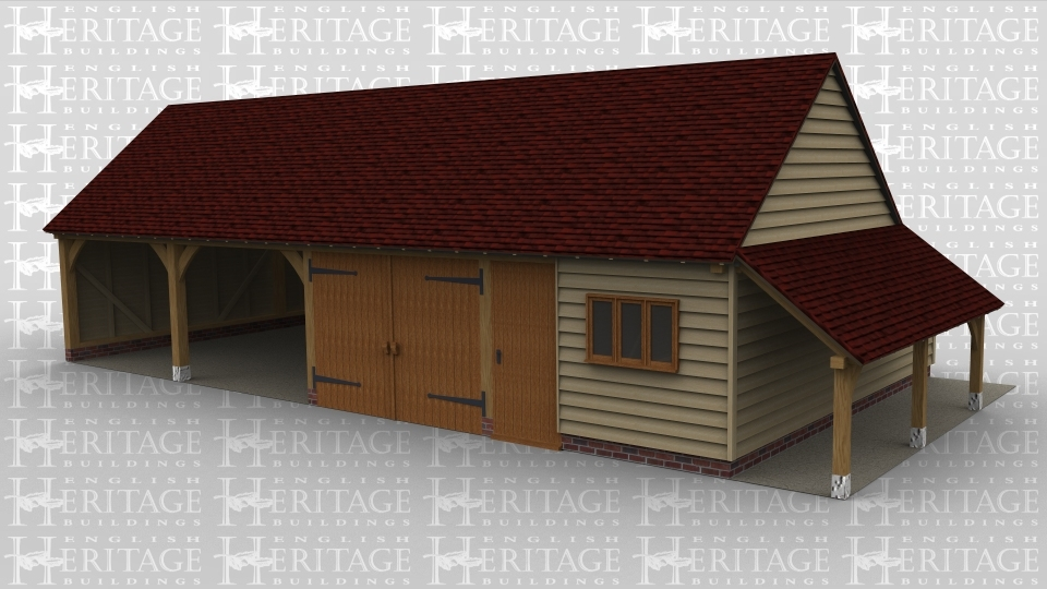 A 4 bay oak frame garage with two bays left open at the front while the other two are enclosed, one with garage doors and the other room with a solid single door which could be used as a workshop, the front of the building also has a three light window. On the right is an external aisle  / log store