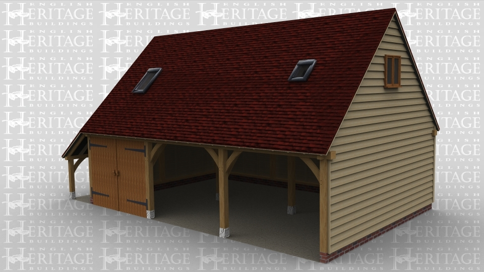 A 3 bay oak framed garage with an upper floor. On the front of the building the ground floor bays are left open one with a pair of garage doors, there is also an external aisle on the left. On the first floor there are two rooflight windows at the front and on both the left and right is a two light window to allow plenty of natural light into the upper floor.