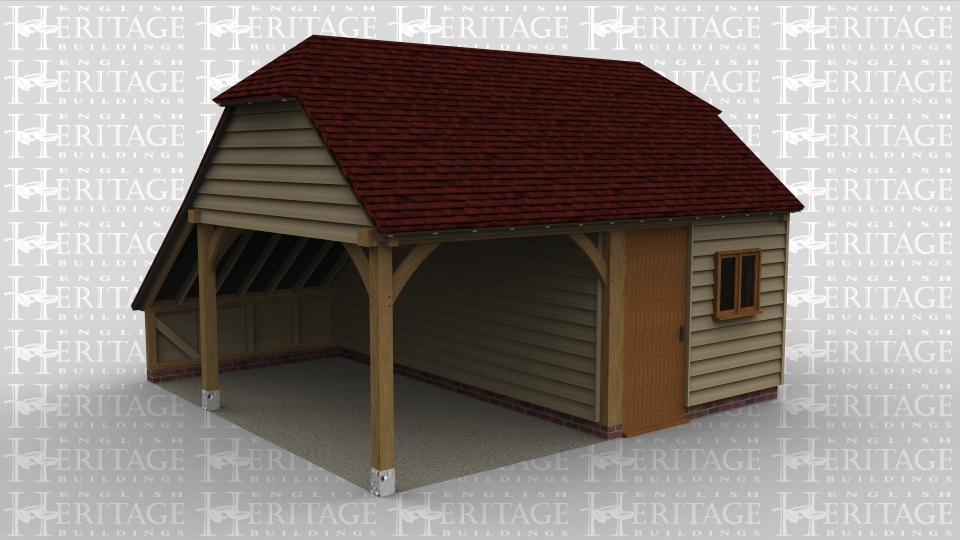 A 2 bay oak frame garage with one bay open at the front and left whilst the other bay is enclosed via a solid single door as well as a 2 light window at the front. the right of the building has a 3 light window and at the rear is an internal aisle.