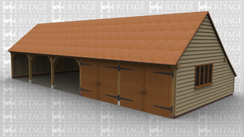 A 5 bay oak frame garage with 3 bays open at the front while the other 2 bays are enclosed with iroko garage doors, the right of the building have a 4light window and the roof is tiled with pantines.