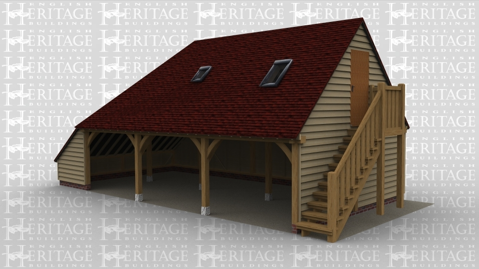 A 3 bay oak framed garage with an upper floor, the ground floor bays are open at the front with an internal aisle on the left. on the right of the building is an external staircase allowing acess to the first floor. On the first floor there is a solid single door on the right and 2 rooflights on the front.