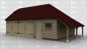 A 3 bay oak frame garage and workshop with 2 bays enclosed via a pair of garage doors while the other bay is enclosed with a solid single door, the front of this building also has a mullion window.The right hand side of the building has an external aisle / log store.