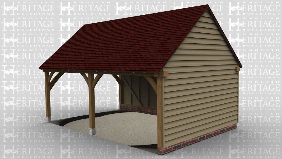 An oak frame traditional garage with 2 bays and open on the left hand side.