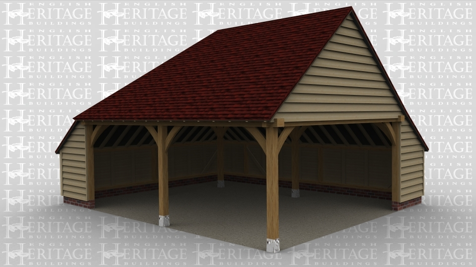 A 2 bay oak frame garage open at the front and the right with an internal aisle on both the left and rear side.